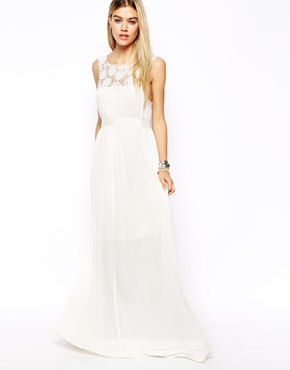 maxi dress with lace yoke