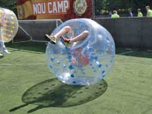 bubble football player falling over in Glasgow
