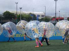 stag party playing bubble football in Edinburgh