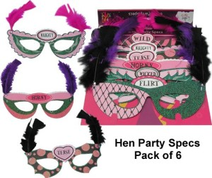 pack of 6 hen party masks